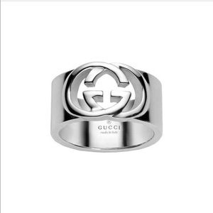 Gucci Logo Sterling Silver Ring Sz 4.75